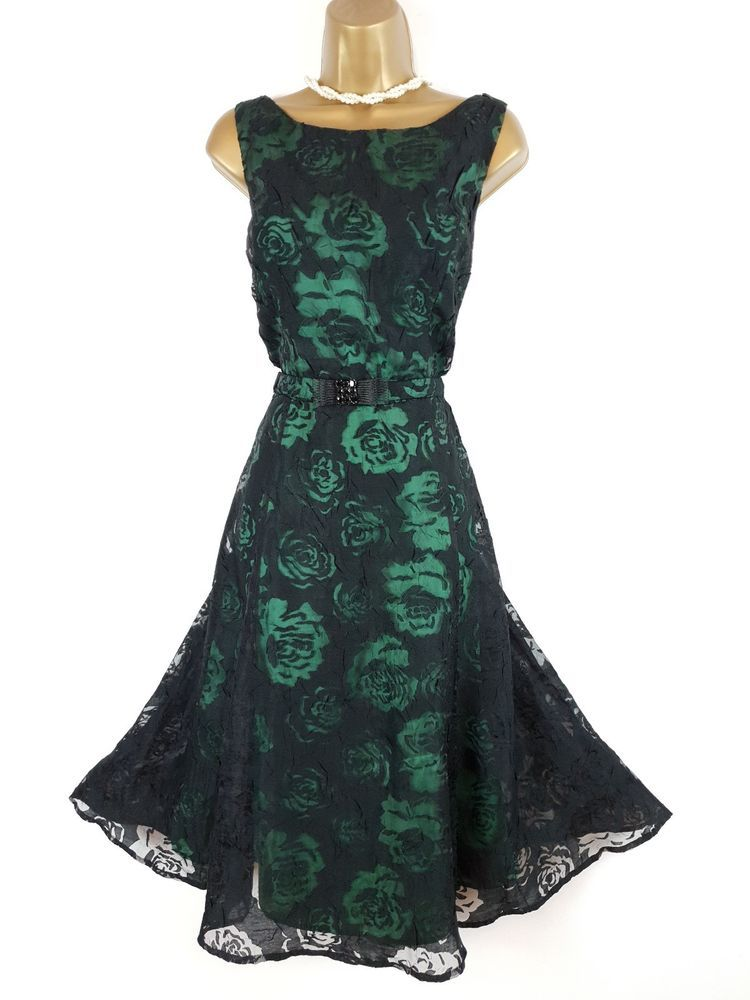 Phase Eight Emerald Green Black Floral Fit Flare Christmas Party Dress Uk 14 Fashion Clothing Shoes Accessor Party Dresses Uk Christmas Party Dress Dresses