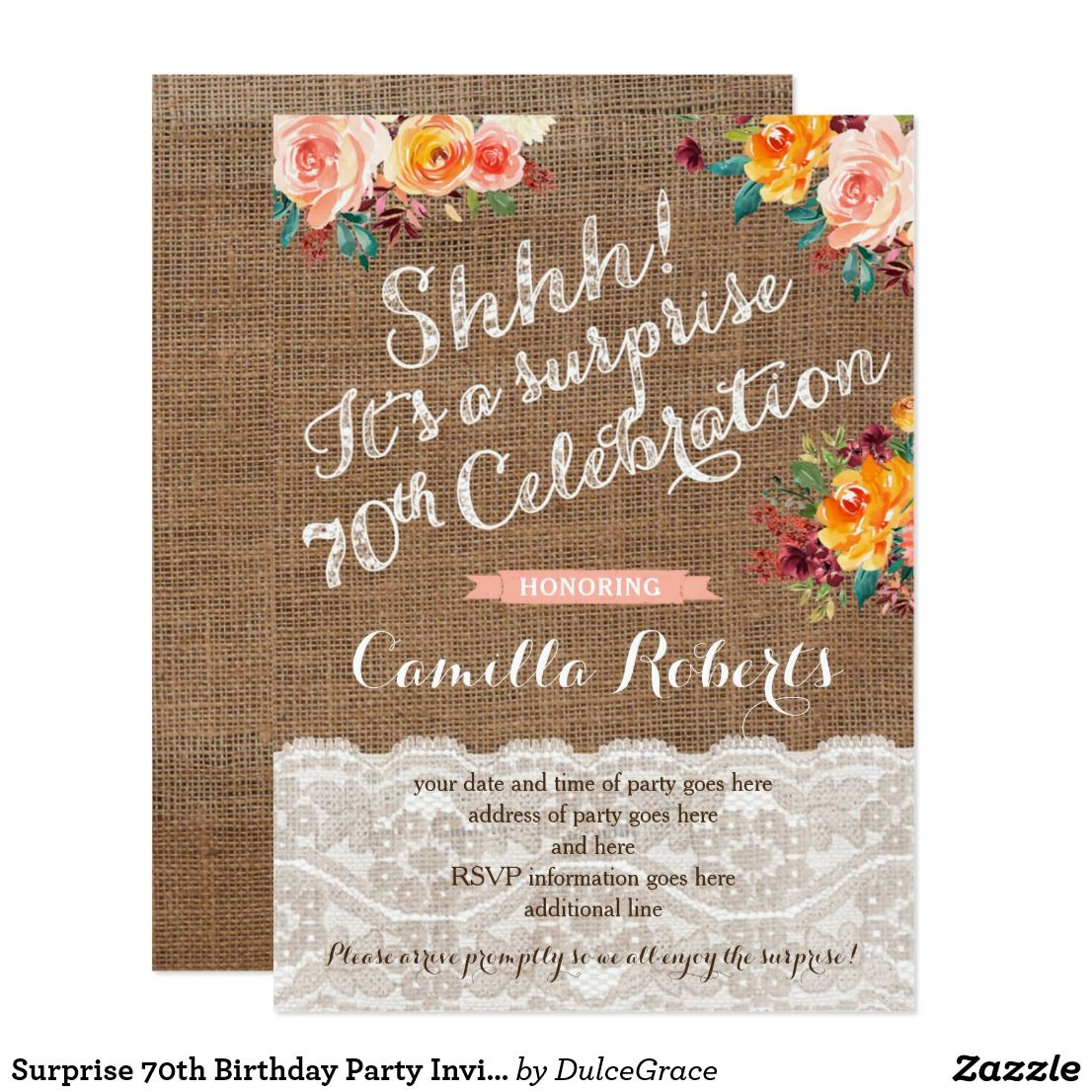 Surprise 70th Birthday Party Invitations for Fall 70 birthday
