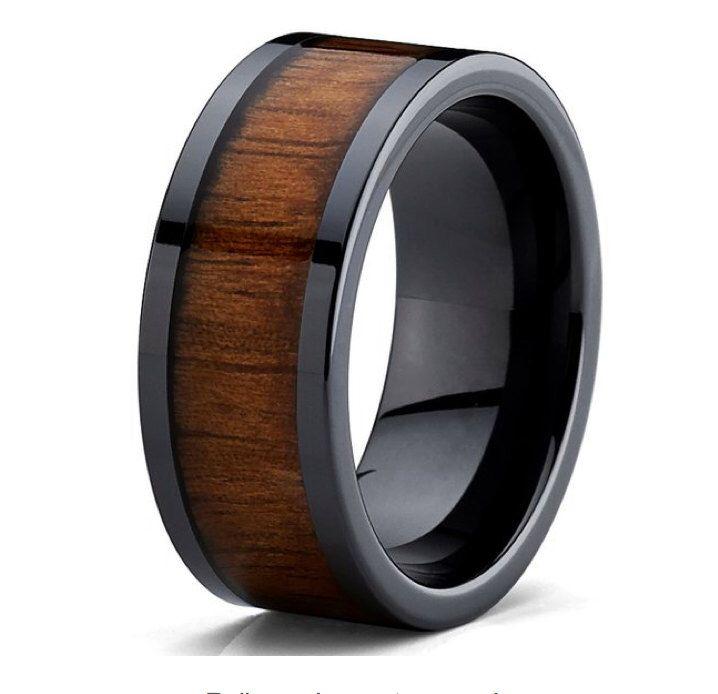 9mm Mens Or Ladies Black Ceramic with Hawaiian Koa Wood  Inlay Wedding Band Ring