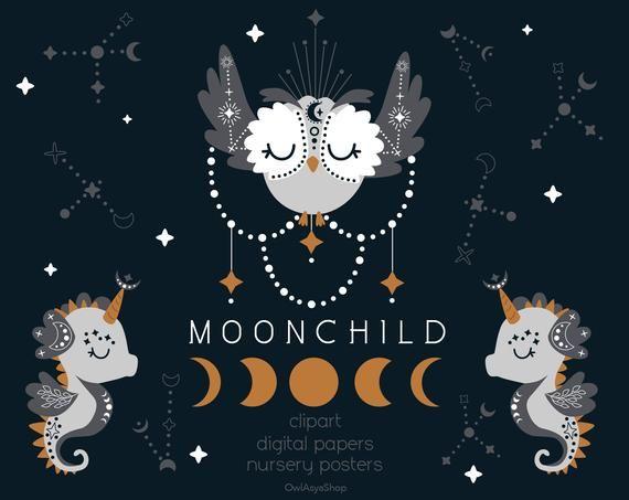 Moonchild Clipart Boho Svg Mystical Animal Clipart Digital Etsy Clip Art Moon Child Animal Clipart