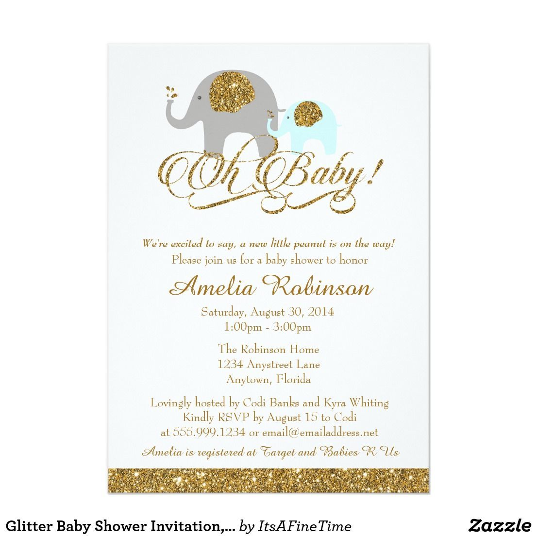 Glitter Baby Shower Invitation, Elephant Peanut Card Lovely shower ...