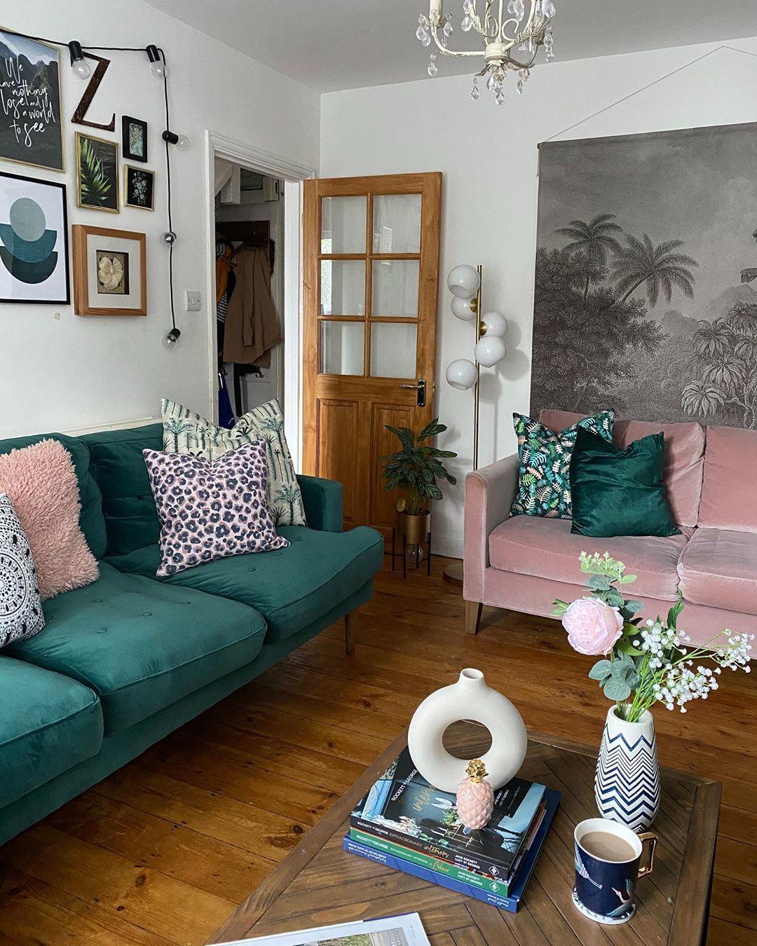green velvet sofa pink velvet sofa botanical wall