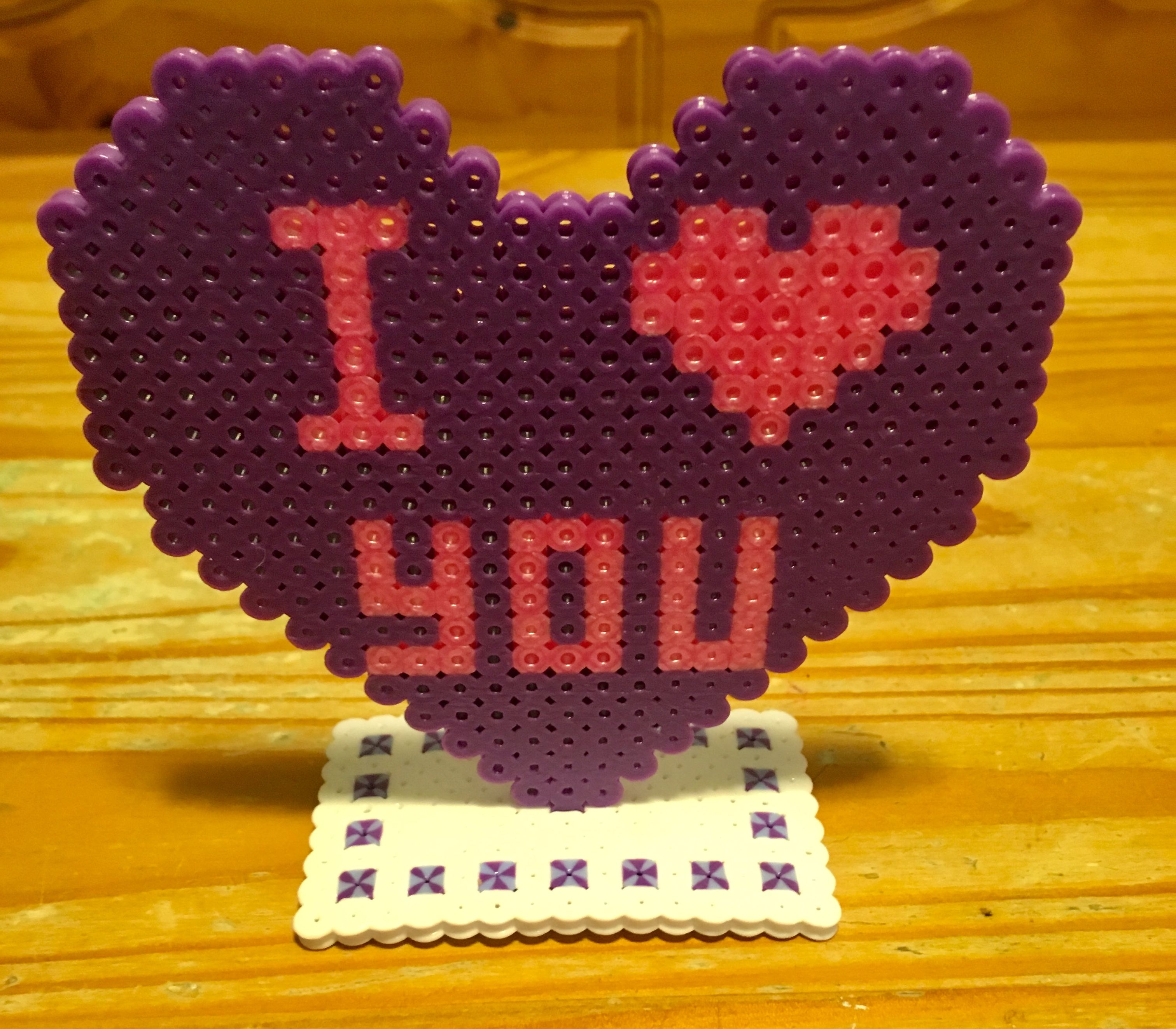 Perler Bead I Love You Candy Heart Valentines Day Mother S Day Perler Bead Templates Perler Beads Designs Perler Bead Patterns