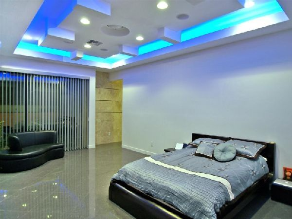 Bedroom Ceiling Lighting Design At Contemporary And Luxury Tenaya Residence In Las Vegas By DesignCell