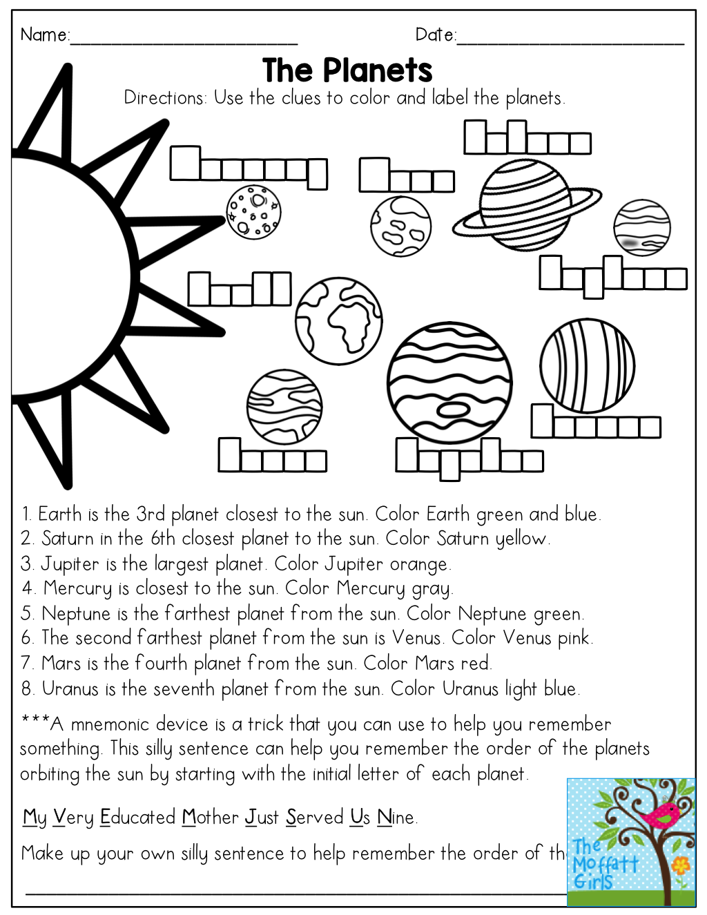 The planets read and color then come up with a mnemonic device homeschool robcynllc Gallery