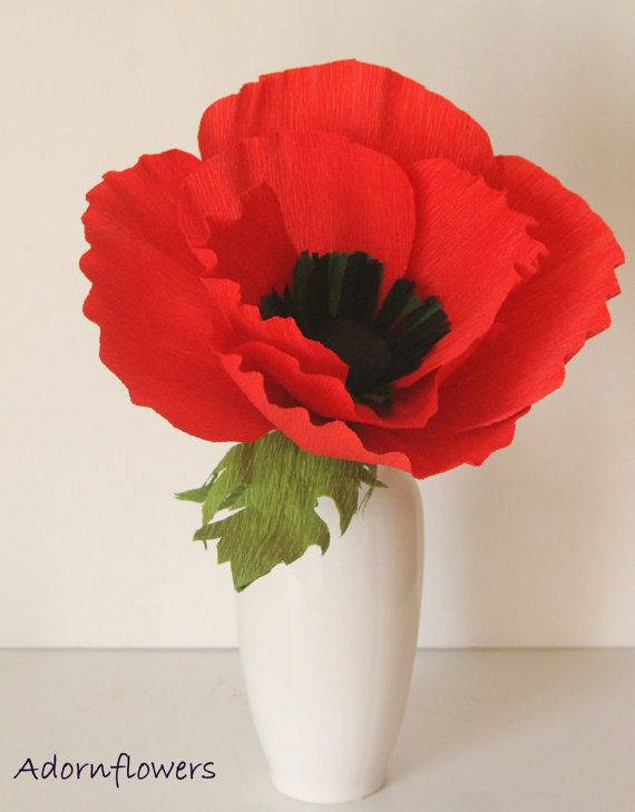 Giant Flowerlarge Paper Poppy By Adornflowers On Etsy 21 00 Brittany Roever Paper Flowers Handmade Flowers Paper Paper Flowers Diy