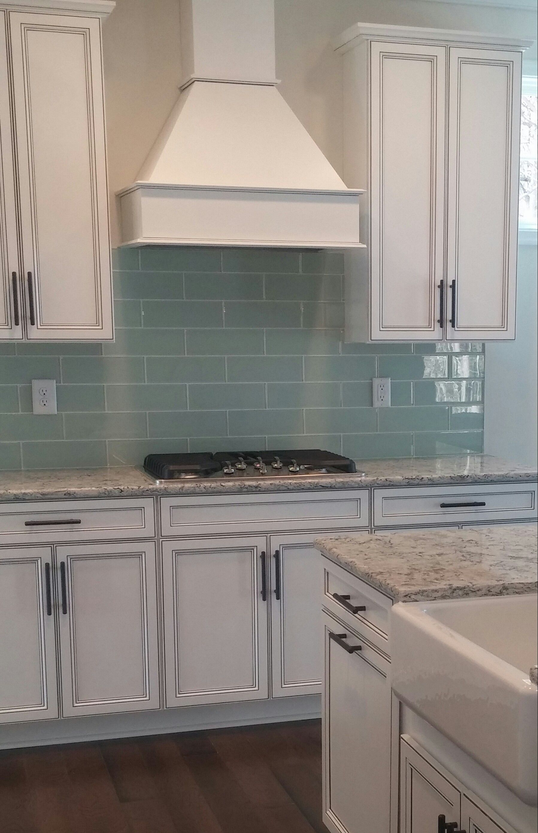 Arctic Ice Subway Tile Backsplash With Cambria Praa Sands Quartz