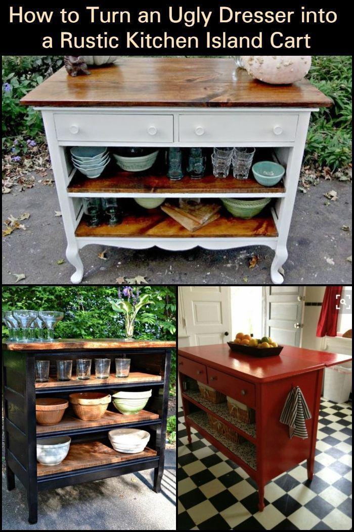 Schaffen Sie zusätzlichen Stauraum und Ladentisch indem Sie eine hässliche Kommode in eine rustikale #rustickitchens