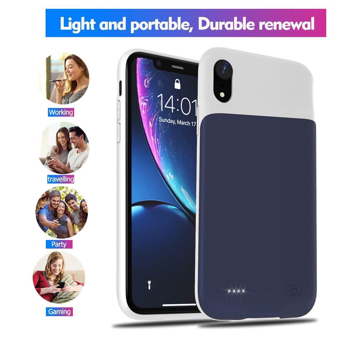 For iphone x xs xr battery charger case 4000mah slim