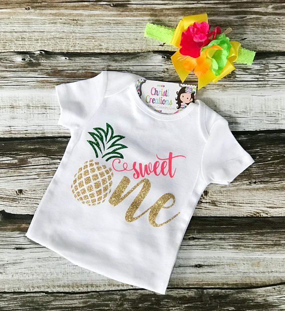 eba3ce145a29 Baby Girl 1st Birthday Outfit Celebrate your little girls first birthday in  style with this adorable Pineapple glitter gold tutu outfit!