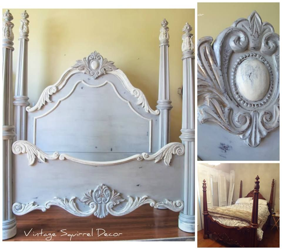 A Beautiful Bed Finished In Paris Grey Old White And French Linen Chalk Paint Decorative Paint