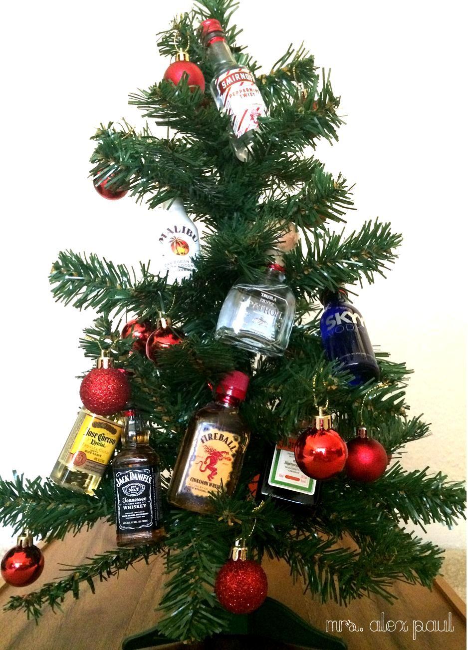 Mini Alcohol Bottle Christmas Tree Whiteelephant Diy Christmas Tree With Gifts Christmas Alcohol Gifts Diy Alcohol Gifts