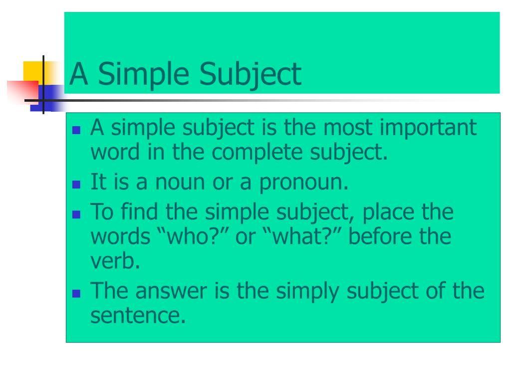 13 Unique Simple Subject