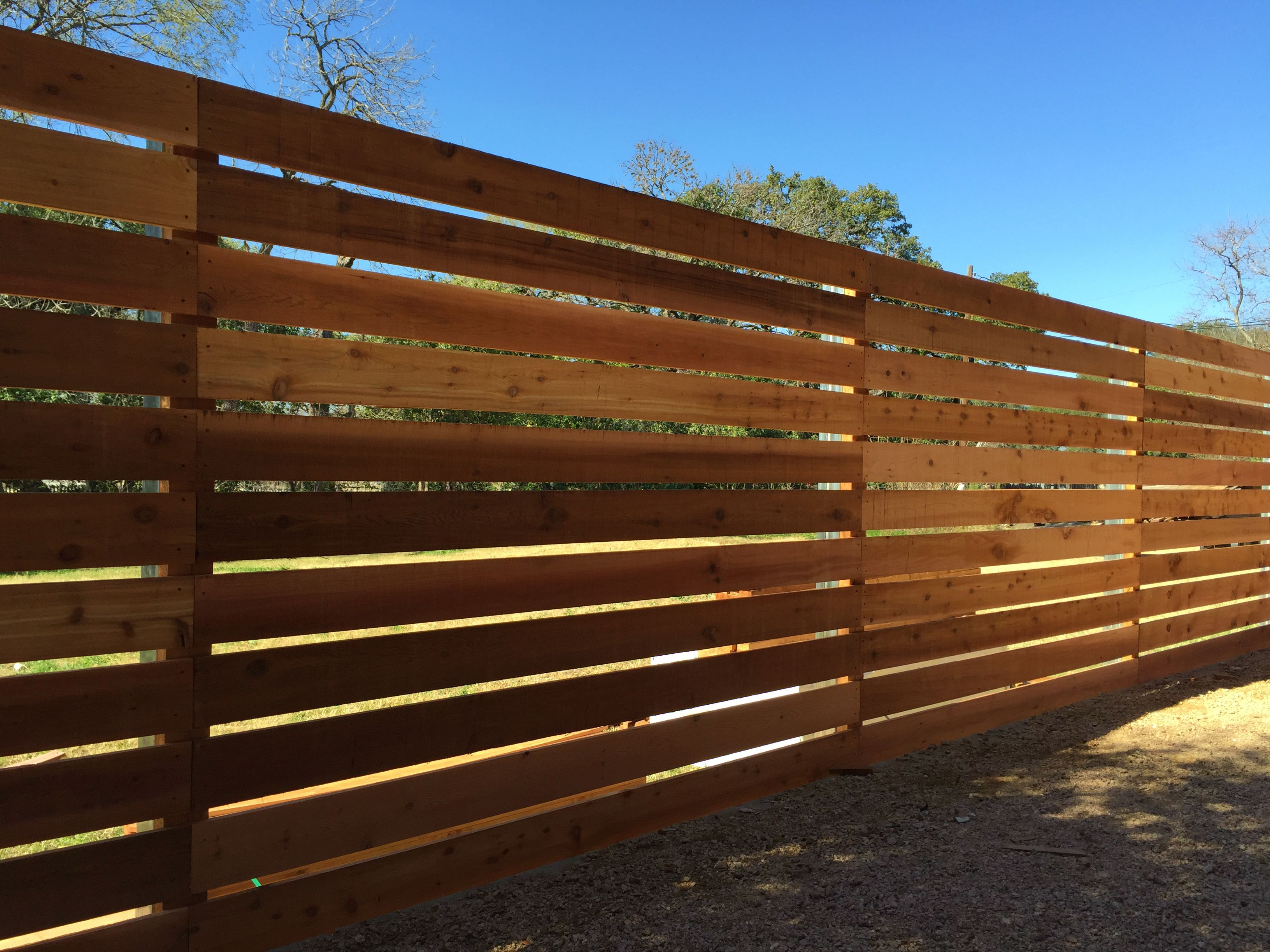 "6 H Horizontal Cedar Semi Privacy on 4"" Steel Posts Check out"