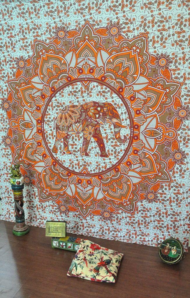 Orange Elephant Mandala Wall Tapestries For Dorms Cool