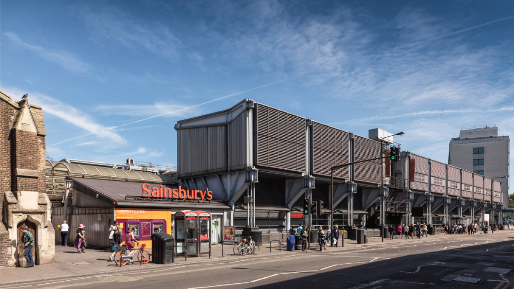 Camden Road Sainsbury's and a housing complex in London