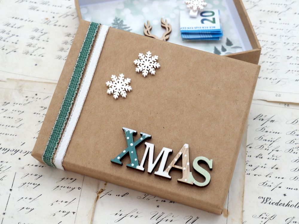 Geldgeschenk Verpackung Weihnachten Xmas Schneeflocke Hirsch Natur