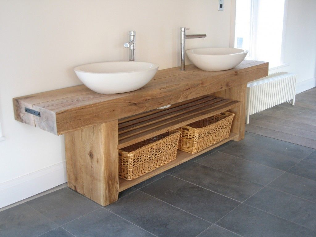 Details about Vanity unit wash stand sink basin solid oak bespoke rustic  finish. Rustic Bathroom SinksWooden ...