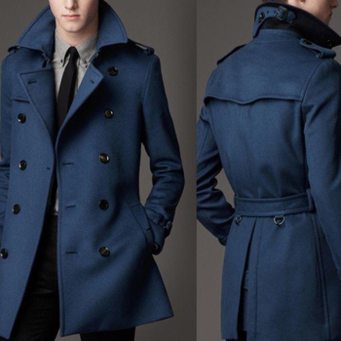 Двубортное мужское пальто синее с поясом Burberry выше колен ... a705f007867