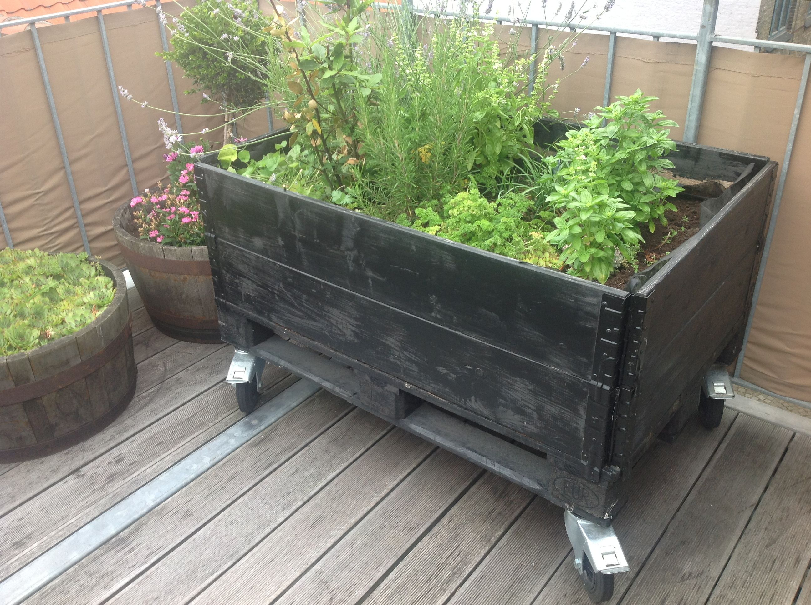 Self Watering Outdoor Planters Mobile Planter Box On Outside Deck Of Danish Apartment