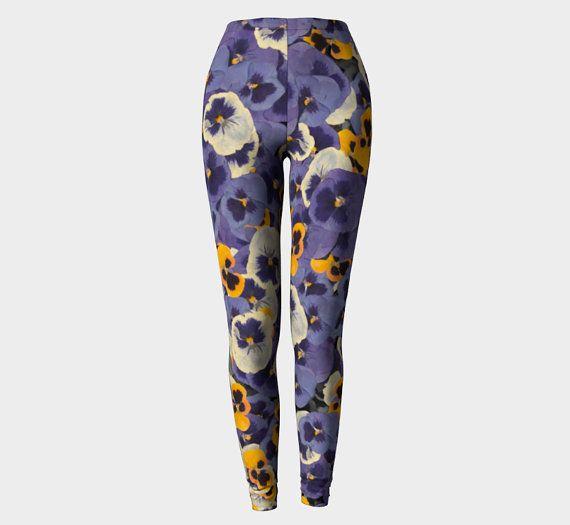 c85b79f340b403 Pressed Flower Yoga Pants / Capris, High Waisted Workout Pants ...