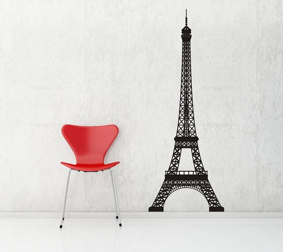 Eiffel Tower, Paris, France - Decal, Sticker, Vinyl, Wall, Home ...