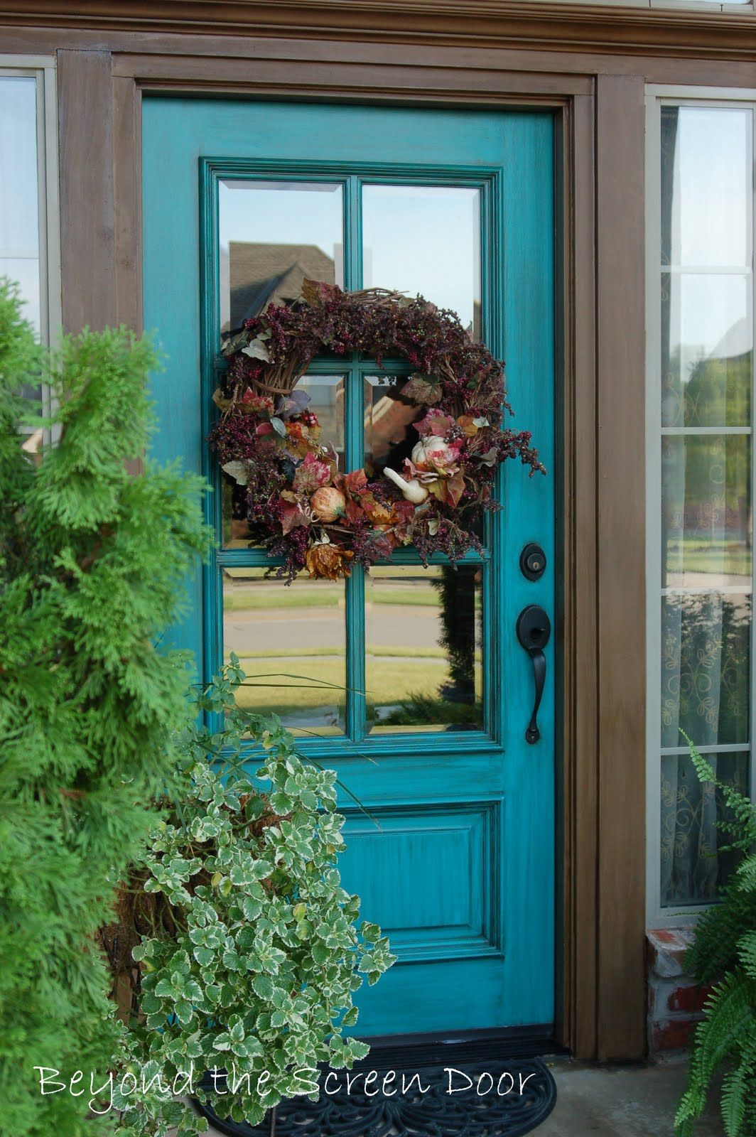 In love with this front door makeover my fav color for Front door with screen window