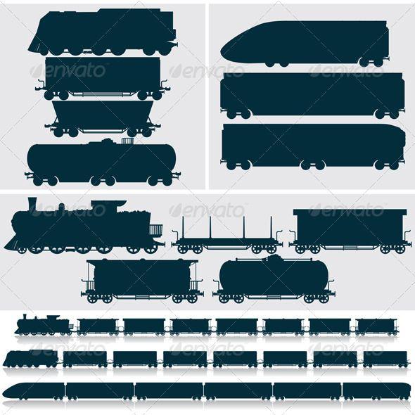 Silhouette Modern Obsolete Vintage Train Cars Train Silhouette Vintage Train Silhouette