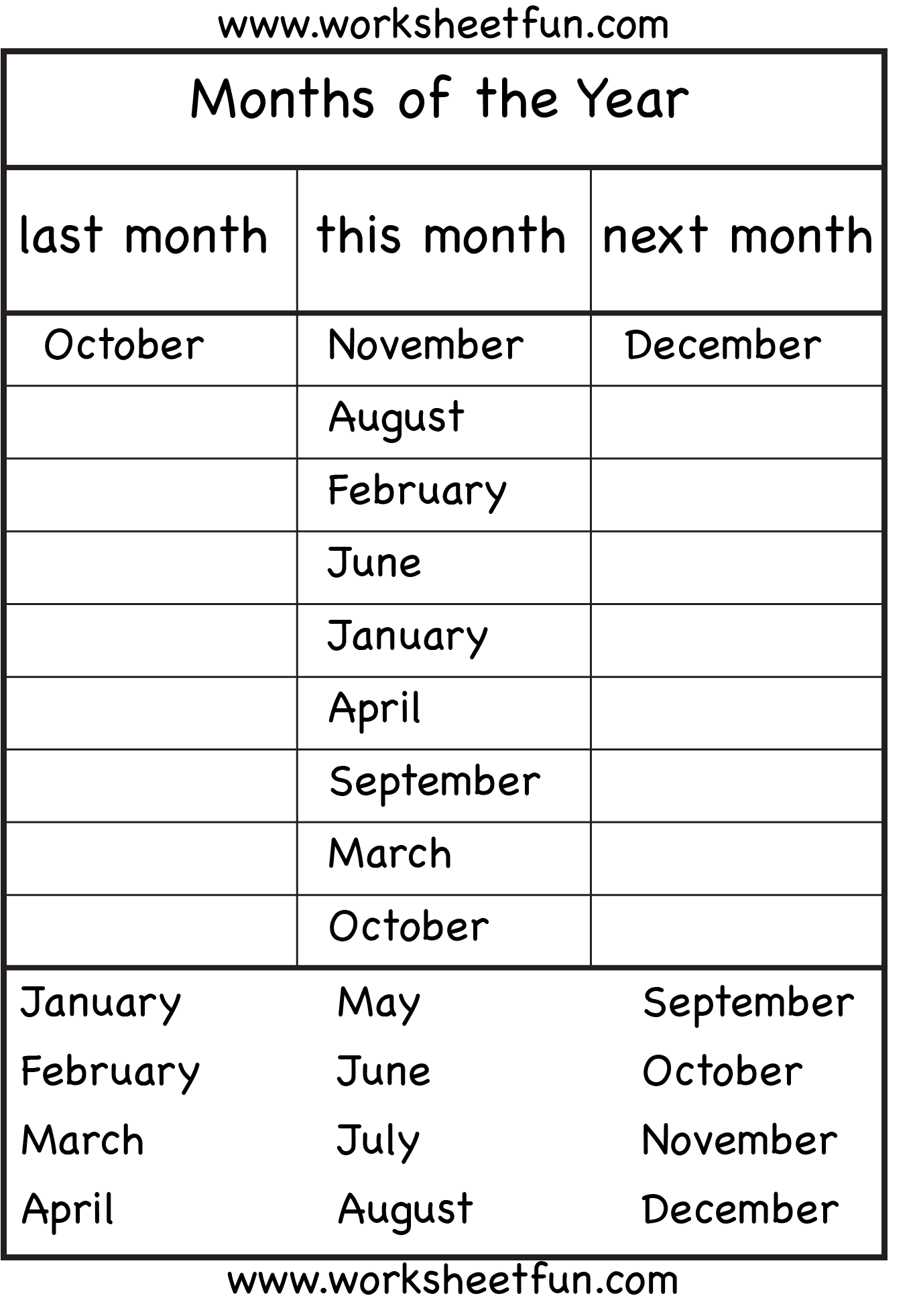 Months Of The Year 1a Eval