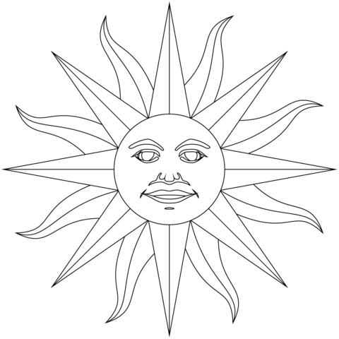 Inti El Dios Del Sol De Los Incas Dibujo Para Colorear Como Dibujar Cosas Dibujos Inca