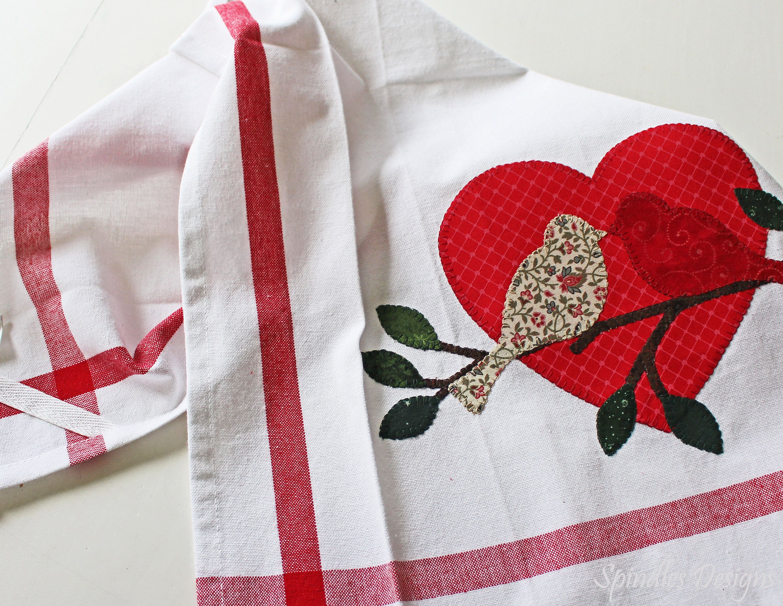 Valentine Decor Bath Hand Towel Tea Towel Hostess Gift Holiday Kitchen Decor Valentines Day Birds and Tree Kitchen Dish Towel