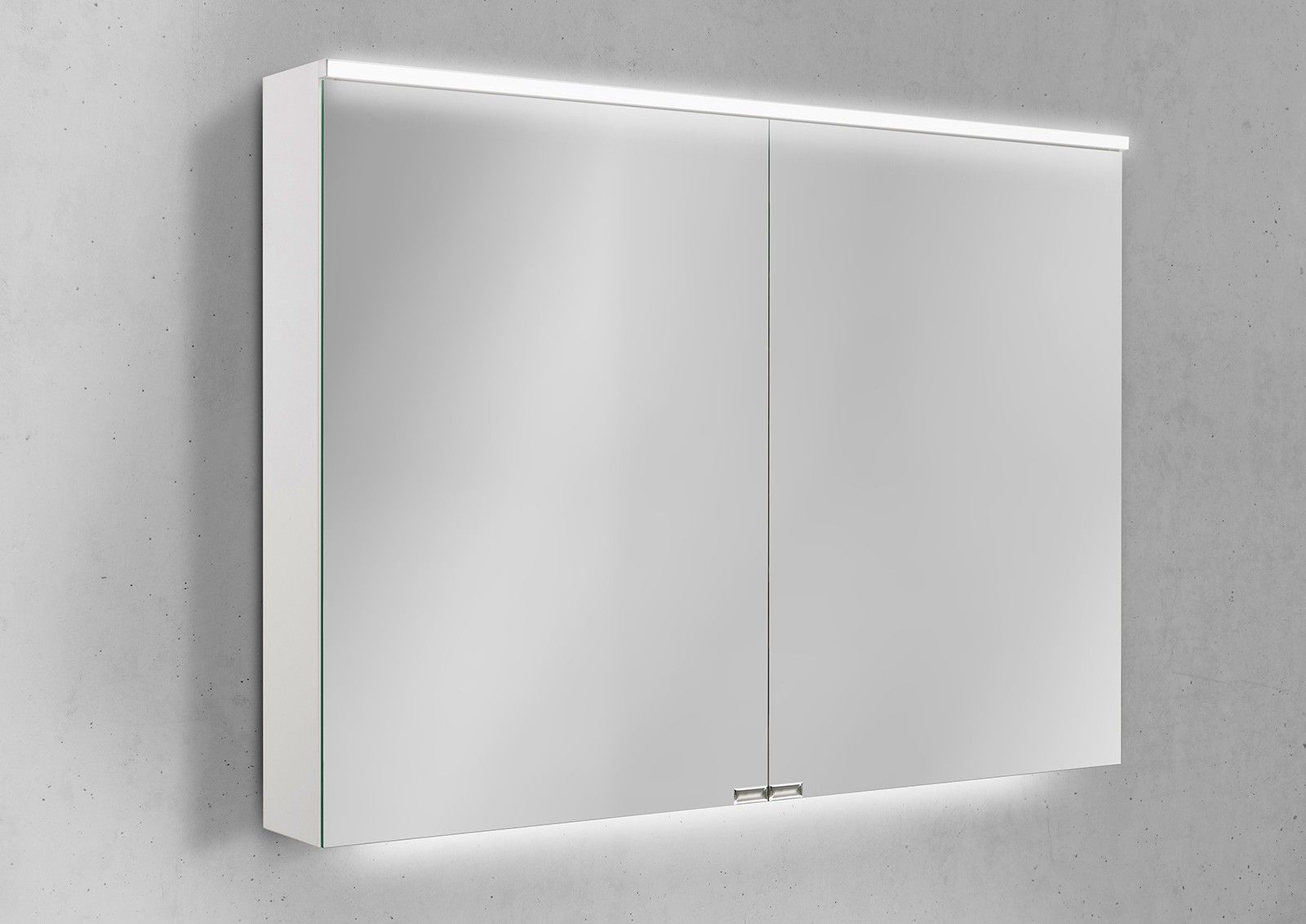 Spiegelschrank 100 Cm Integrierte Led Beleuchtung Doppelt Verspiegelt Spiegelschrank Spiegelschrank Bad Spiegelschrank Beleuchtung