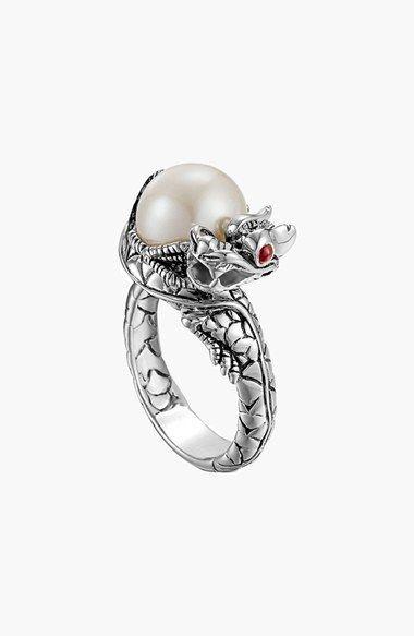 31258f6b20bef John Hardy 'Naga - Lava' Dragon & Pearl Ring   Jewelry in 2019 ...