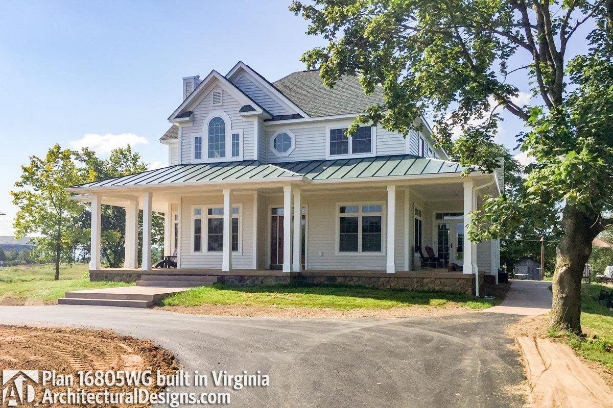 Great Country Farmhouse With Wraparound Porch   16805WG | Architectural Designs    House Plans