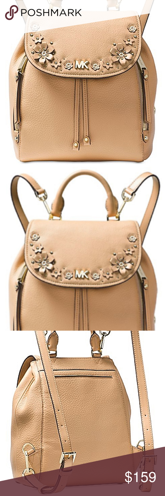 3a2adf970696 Michael Kors Evie S Flower Garden Butternut/Gold Michael Kors Evie Small  Flower Garden Leather
