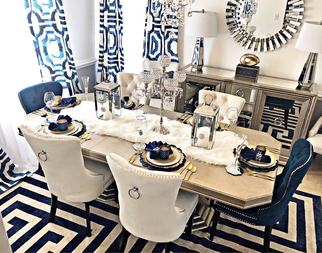 How Gorgeous Is This Dining Room By Mojisstyle On Instagram Blue Dining Room Decor Dinning Room Decor Elegant Dining Room