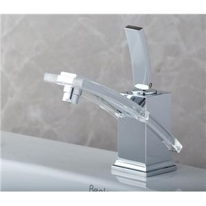 Contemporary Brass Waterfall Bathroom Sink Faucet With Images