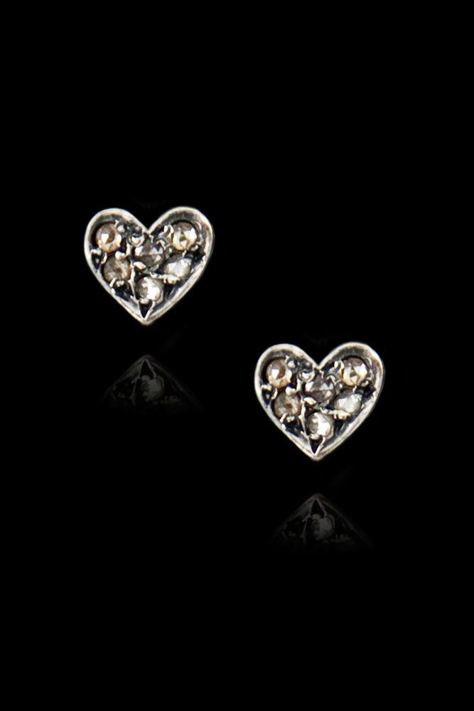 Chan Luu - Diamond Heart Stud Earrings, $170.00 (http://www.chanluu.com/earrings/diamond-heart-stud-earrings/)