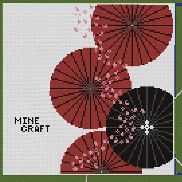 あまりにもカッコいいデザインを見つけたので、前からやってみようと思っていた、地図を使った絵画の追加にチャレンジ。  #マインクラフト #マイクラ #minecraft #minecraftonly #mine #地図 #絵画 #番傘 #桜 #桜吹雪 #和 #日本 #japan