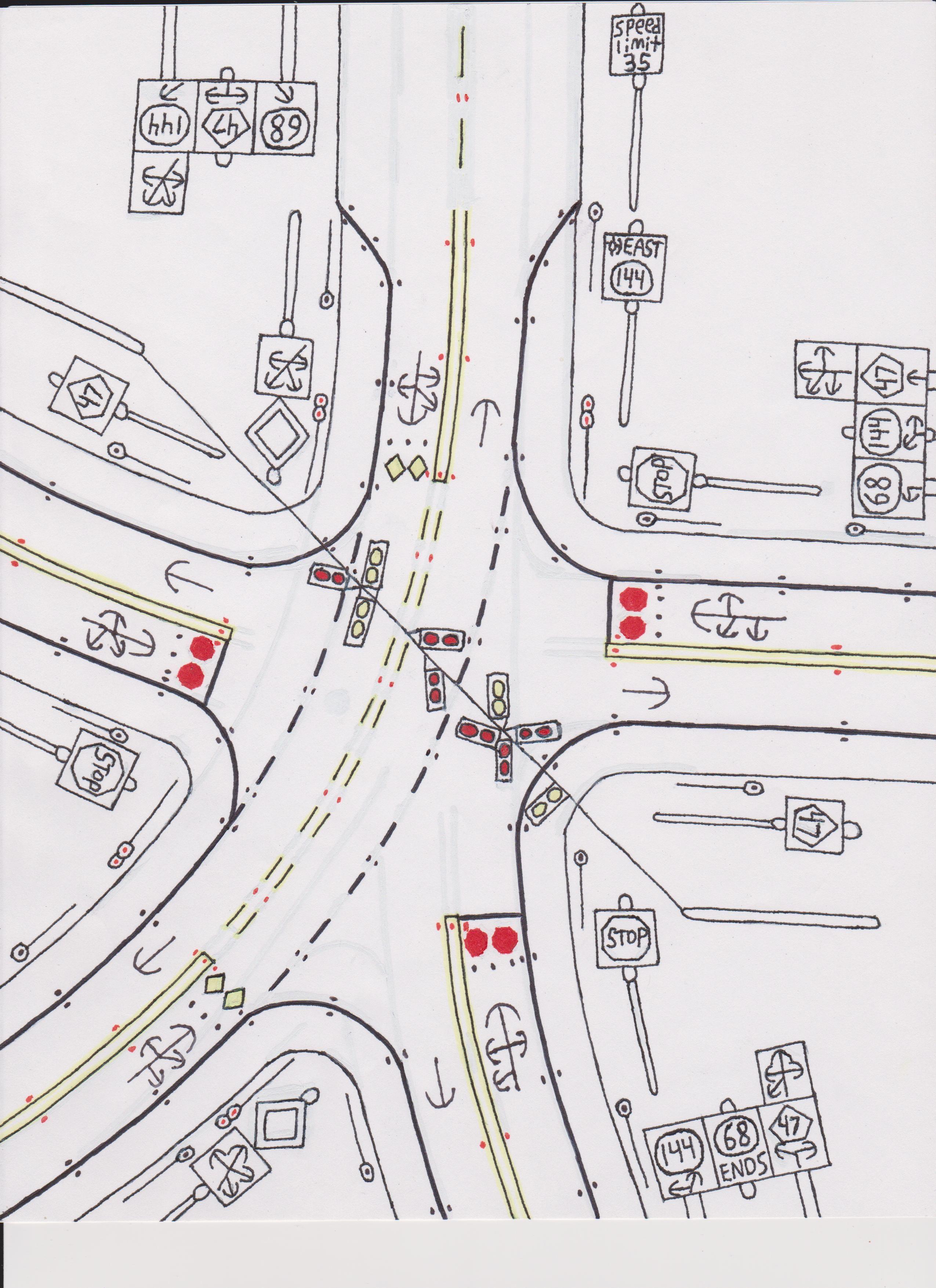 5-way intersection. | Road Drawings Stuff | Pinterest | Drawing ...