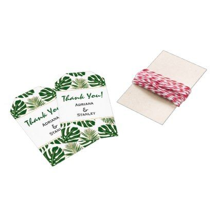 #gold - #Tropical leaves green and gold wedding Thank You Gift Tags