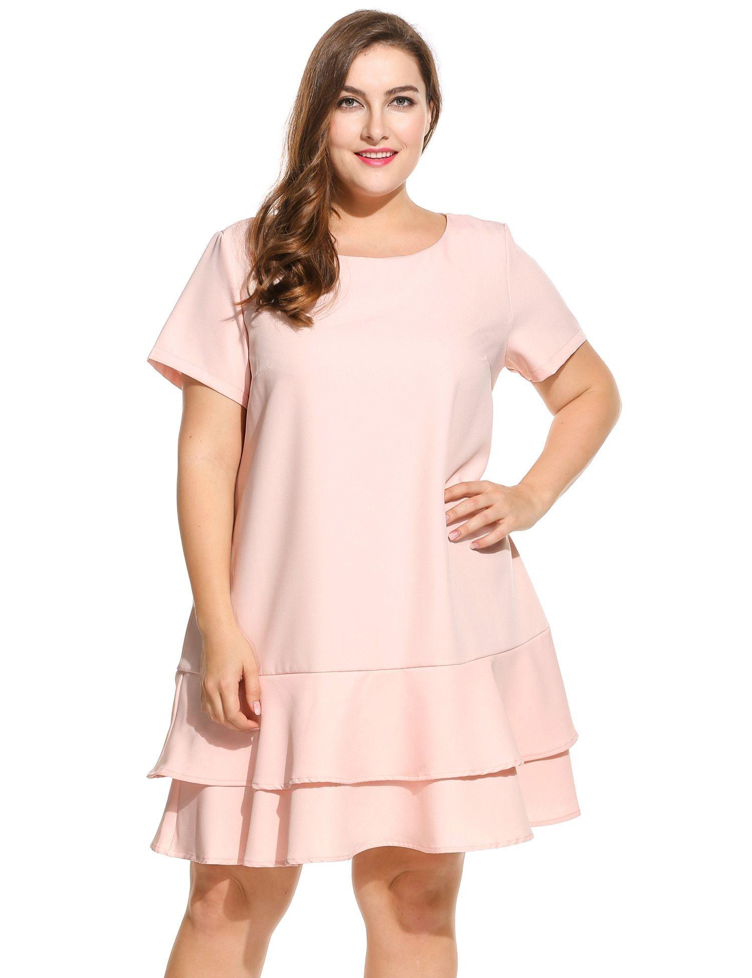 Women short sleeve solid double layer ruffles hem dress plus size