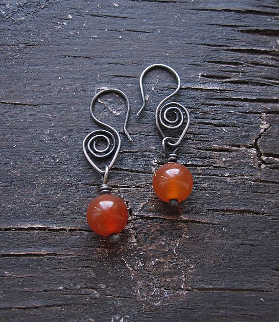 Silver Earrings, Carnelian Earrings, Orange, Dangle Earrings, Rustic Earrings, Long Earrings,Tribal Earrings,Spiral Earrings, Boho Earrings