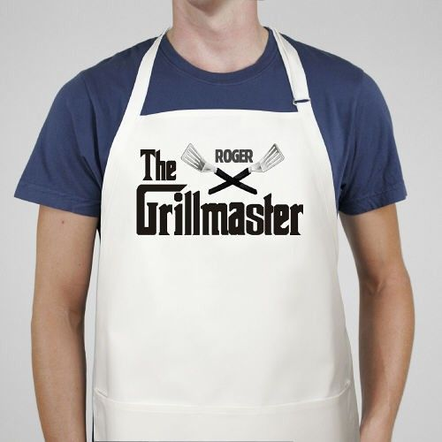 Grillmaster Personalized Bar-B-Que Aprons for Fathers Day. When it comes to the grill everyone knows a Grillmaster. The one who has the knack of creating mouth watering food the entire family enjoys. Present your Master Griller with the proper BBQ attire by creating a Personalized Grillmaster BBQ Apron. Our Personalized BBQ Apron is a white full length, 65/35 cotton/poly twill fabric apron with adjustable neck and matching fabric ties. Machine washable.