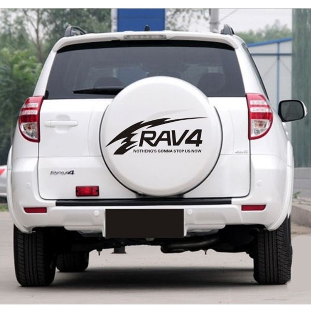 Car styling for toyota rav4 suv sports offroad car tail spare wheel decoration car sticker flower flame lattice car decor olshop