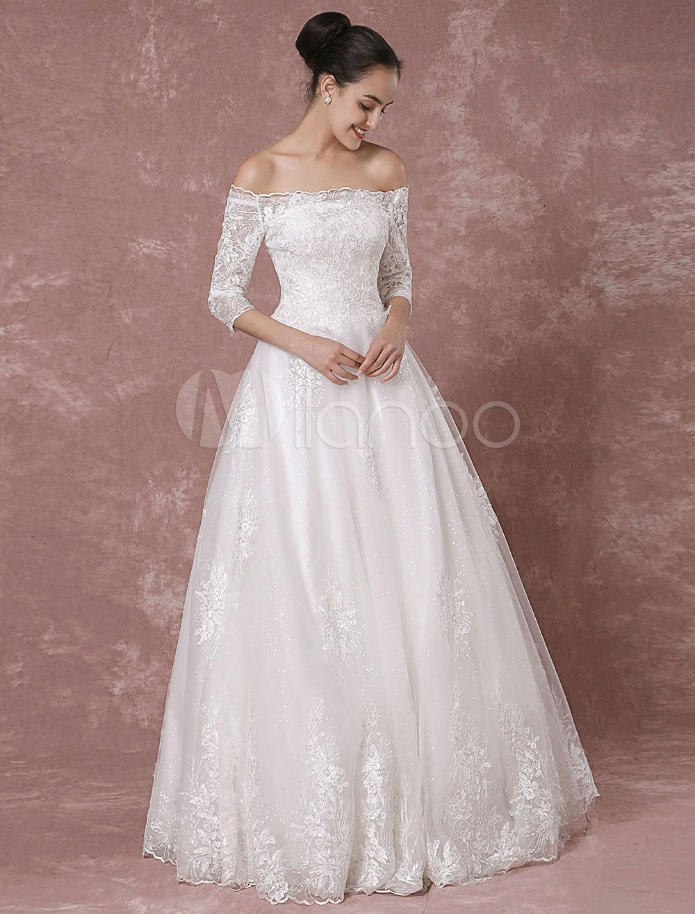 Spitzen Hochzeitskleid Off-the-Schulter Pailletten Tüll halbe Ärmel ...