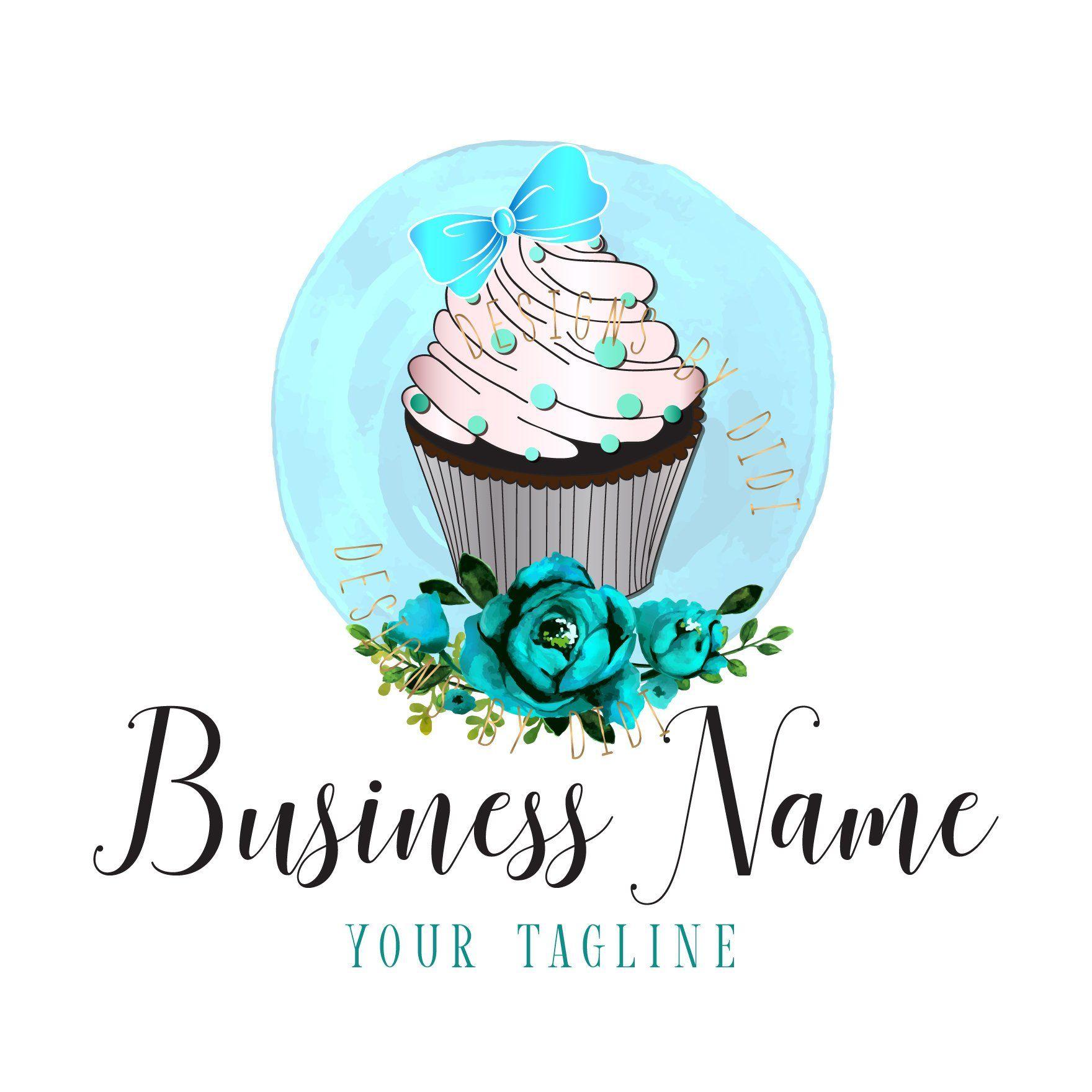 Custom Logo Design Bakery Logo Design Cupacke Blue Silver