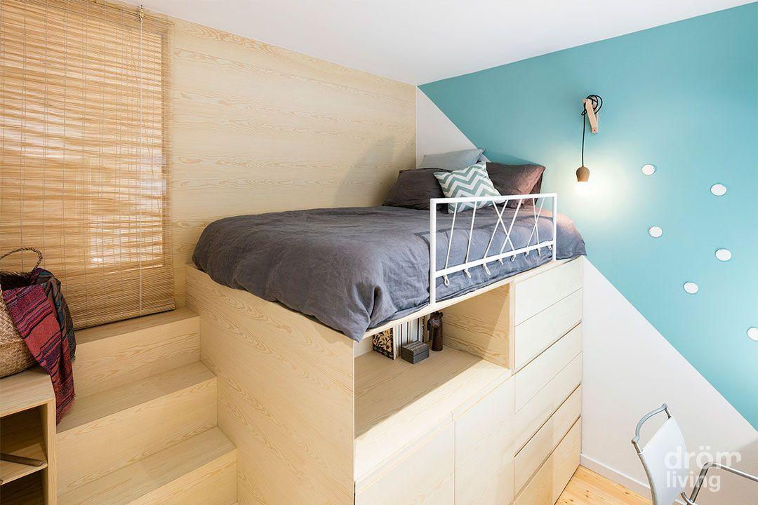 dormitorio juvenil para chica. Estructura de cama elevada de #madera ...