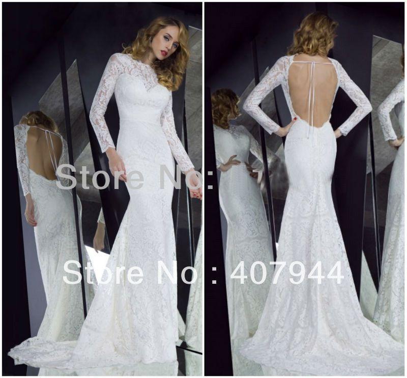 Images of Long Sleeve Open Back Dress - Reikian