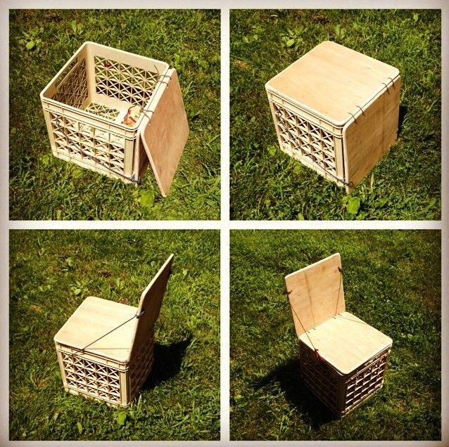Milk Crate Seat Plus Storage Diy Milk Crate Seats Milk Crate Chairs Milk Crates